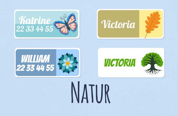 Navnelapper med natur motiv
