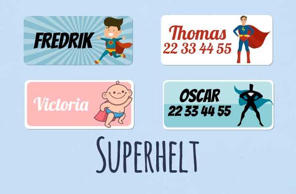 Navnelapper med superhelter