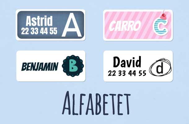 Navnelapper med alle bokstavene i alfabetet