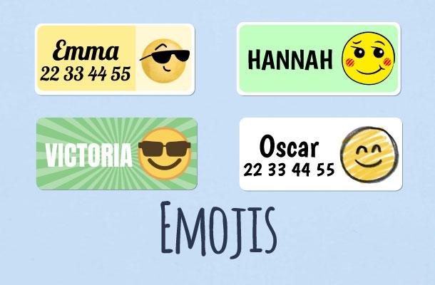 Navnelapper med emoji motiv