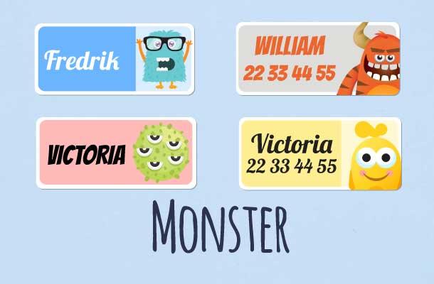 Navnelapper med monster motiv