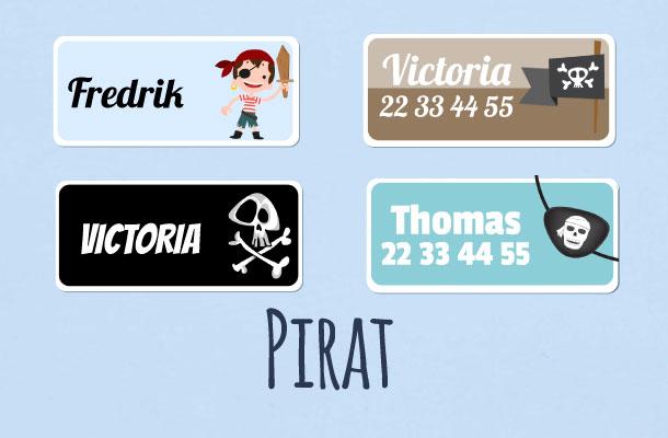 Navnelapper med pirat og sjørøver motiv