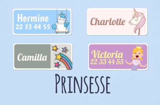 Navnelapper med prinsesse og enhjørning motiv