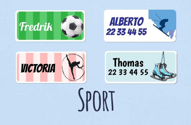 Navnelapper med sports- og fotball motiv