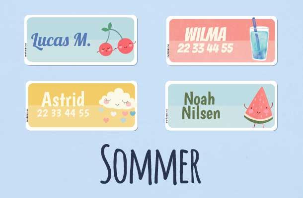 Navnelapper med sommertema