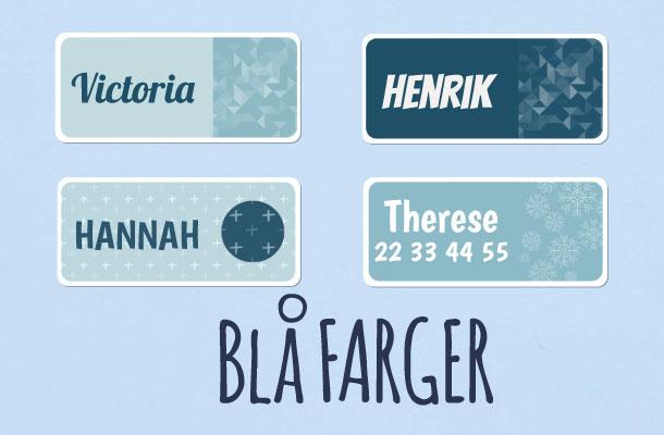 Navnelapper i blå farger