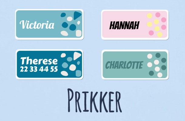 Navnelapper med prikker