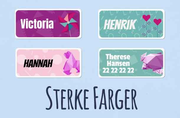 Navnelapper med sterke farger
