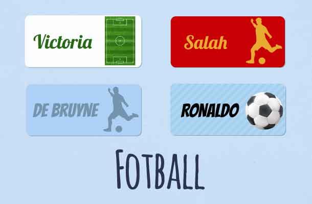 Navnelapper med fotballtema