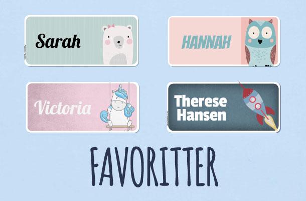 De mest populære navnelappene våre